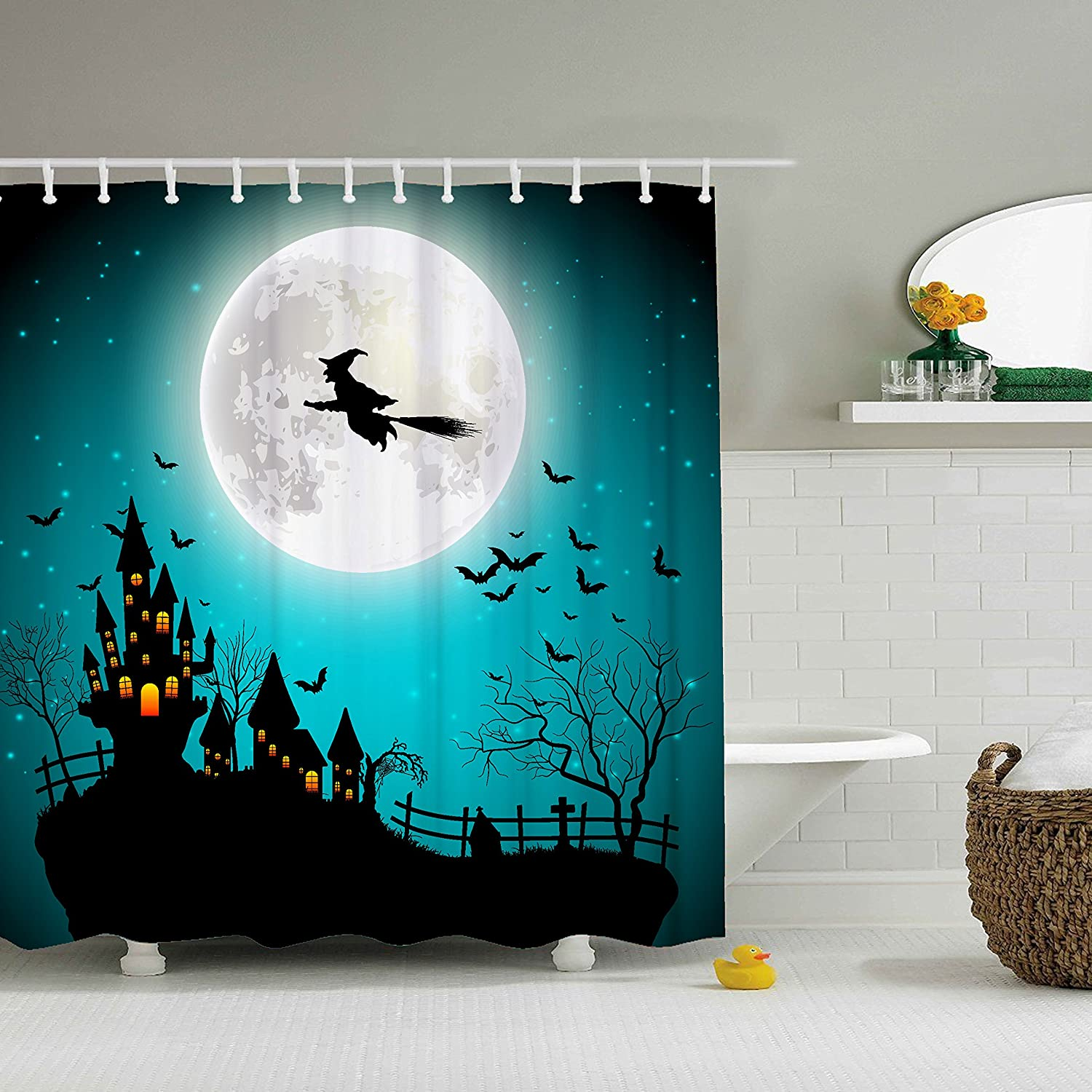 ZBLX Vintage Halloween sold out Shower Curtain Resistant 2021 spring and summer new Waterproof Fab -