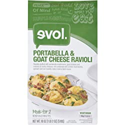 EVOL Portabella and Goat Cheese Ravioli, Vegetarian, Meals for Two, 15 Grams of Protein Per Serving,