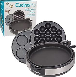 CucinaPro Multi Baker Deluxe- 3 Interchangeable Skillets for Grilling, Baking or Dessert Making- Takoyaki, Sandwiches, Cak...