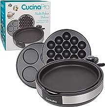 CucinaPro Multi Baker Deluxe- 3 Interchangeable Skillets for Grilling, Baking or Dessert Making- Takoyaki, Sandwiches, Cake Pops and Much More