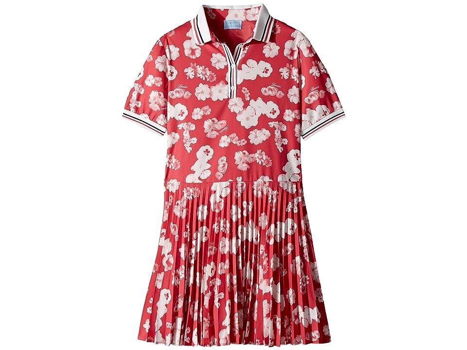 Lanvin Kids Short Sleeve Floral Print Polo Dress with Pleat Skirt (Big Kids) (Fuchsia) Girl