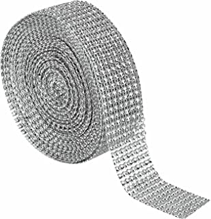 "Derker 1.5"" 10 Yards 8 Row Acrylic Bling Rhinestone Diamond Ribbon Roll Mesh Wrap for Wedding Cakes,Party Decorations (Silver)"