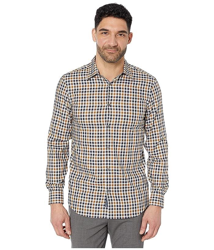 Perry Ellis  Slim Fit Multi Check Shirt (Bronze Brown) Mens Clothing