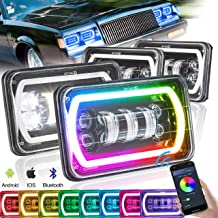 SEUYA 4x6 Headlights LED Sealed Beam Headlights Rectangle Headlights with RGB Halo Ring Bluetooth Remote Control for Replacement H4651 H4652 H4656 H6545 Truck Ford Chevrolet Kenworth Oldsmobile 4PCS