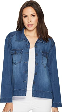 Cropped Trapeze Jacket with Front Chest Pockets in Modal-Soft Dressing