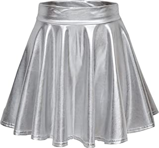 87a8fa07a5 EXCHIC Women's Shiny Metallic Wet Look Stretchy Flared Mini Skater Skirt