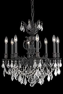 Elegant Lighting 9508D24DB/RC Marseille Collection 8-Light Hanging Fixture with Royal Cut Crystal, Dark Bronze Finish