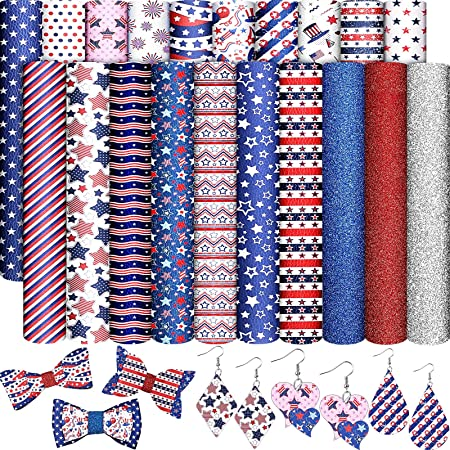 Faux Vegan Leather for Earrings Patriotic Stars Vinyl Fabric 12x52 ROLL Embroidery Supply Red White Blue Vinyl Hair Bow Vinyl
