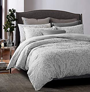 Tahari Home Soft Cotton Textured Jacquard Bedding Modern Cottage Duvet Cover Set Reversible Woven Damask Floral Birds Nature Design (Grey, King)
