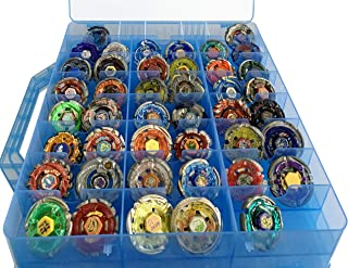 HOME4 Toys BPA Free Double Sided Storage Container Organizer Case 48 Compartments Compatible with Small Dolls LOL Hot Wheels Regular Beyblade NOT for Burst Series (Blue)
