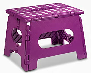 Folding Step Stool - The Lightweight Step Stool is Sturdy Enough to Support Adults and Safe Enough for Kids. Opens Easy with One Flip. Great for Kitchen, Bathroom, Bedroom, Kids or Adults. (Purple)