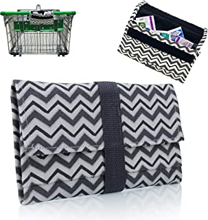 Modern Grocery Coupon Organizer for Purse - Wallet & Extreme Coupon Holder. Set Includes 24 Plastic Coupon Cards Dividers and Stickers. Material Canvas. (GRAY & WHITE)