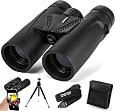 Binoculars 10x42 | Compact and Lightweight | Best for Adults, Bird Watching, Sports Events, Concerts, Safari, or Hunting – Includes Smart Phone Adapter, Tripod, Neck Strap, Case, and Cleaning Cloth