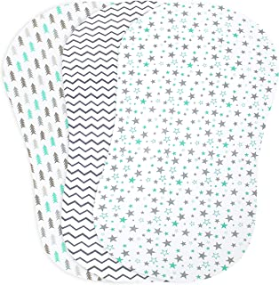 Baby Bassinet Sheet Set for Boy and Girl, 3 Pack, Universal Fitted for Oval, Hourglass & Rectangle Bassinet Mattress, Aqua & Grey