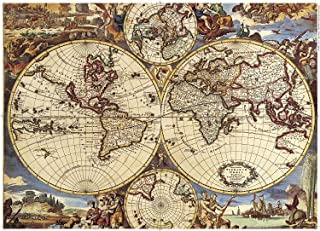 1000 Piece Jigsaw Puzzle - Map of The World Jigsaw Puzzles for Kids Adult Teens Reduced Pressure Toy Gift Ancient World Map Puzzle Art Wall Hanging