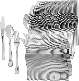 Plastic Silverware   Heavy Duty & Solid Cutlery Disposable Utensils Set   Perfect for Weddings, Buffets, Luncheon & More   100 Forks, 100 Spoons & 100 Knives Combo Pack   300 Count