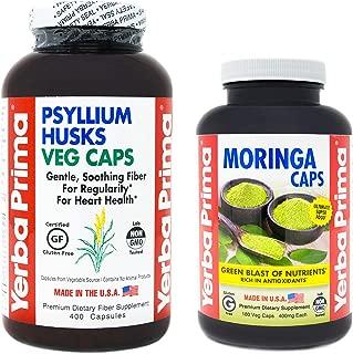 Yerba Prima Psyllium Husk 400 Veg Caps - and - Moringa 180 Veg Caps