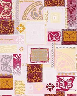 Wallpaper Wall Scrapbooking Style EDEM 071-24 Butterfly Funky Collage Textured White Rose red Grey 5.33 sqm (57 sq ft)