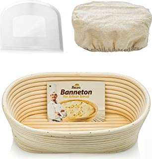 Oval Bread Banneton Proofing Basket - 10 Inch Baskets Sourdough Brotform Proofing Basket Set Banaton Towel for Baking Oval Proofing for Sourdough Bread Making Starter Jar Kit Accessories Tools