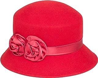 Sakkas Alice Satin Rose Vintage Style Wool Cloche Hat