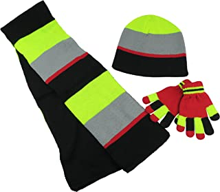 Kids Reversible Knitted Hat/Scarf/Magic Stretch Glove Accessory Set
