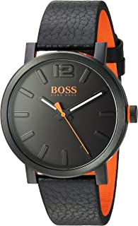 Men's Bilbao Stainless Steel Quartz Watch with Leather Strap, Black, 20 (Model: 1550038)