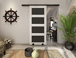 DIYHD 6FT Bottom Rolling Sliding Barn Door Hardware with Soft Close Mechanism,Smooth Black,Top Rail and Floor Rail,Box Track