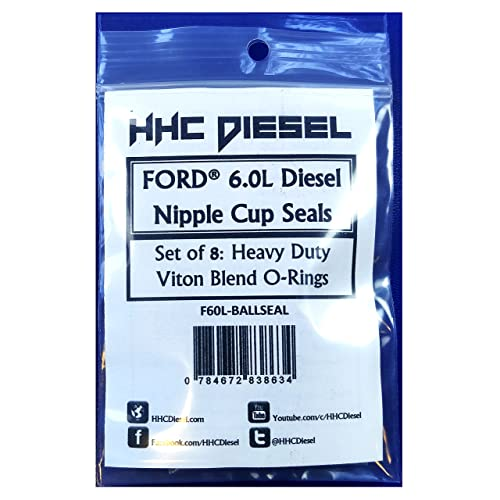 HHC Diesel -Ford 6.0L Diesel Nipple Cup/Ball Tube O-Rings/Seals- Set of 8 Special Heavy Duty Viton Blend (F60L-BALLSEAL)