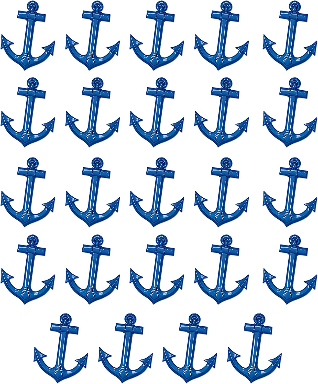 Beistle 55501-B 24Piece Plastic Ships Anchors, 25  (bluee)