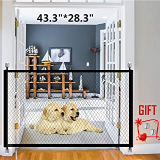 Magic Gate for Dogs Portable Folding Mesh Pet Gate Magic Gate Safety Gates Safety Fence Isolated Gauze Indoor and Outdoor Safe Guard Install Anywhere 43.3 inch x 28.3 inch