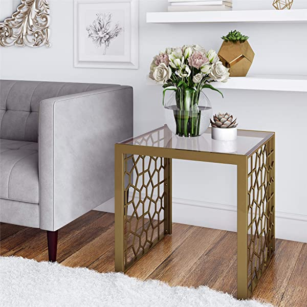 CosmoLiving Juliette Square Tempered Glass Top Side Table With Modern Gold Geometric Shape Pattern Brass