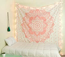 raajsee Metallic Rose Gold Tapestry Pink Mandala Wall Hangings, Indian Cotton Beach Throw Blanket, Hippie Tapestries Boho Decor Bohemian Bedding,Twin Bedspread 140x210 cm Yoga Mat Rugs,A
