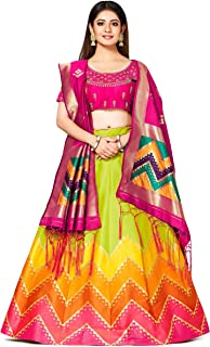 MIMOSA Bridal Semi Stitched Art Silk Wedding Lehenga Choli For Women With Duppatta Sku Color: Green (4811-PWD)