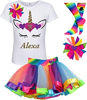 83d480699 8th Birthday Unicorn Shirt Rainbow Tutu Outfit Girls 4PC Gift Set  Personalized Name