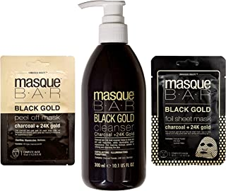 Masque Bar Black and 24k Gold Face Mask and Cleanser Kit – Korean Activated Charcoal Blackhead Removal