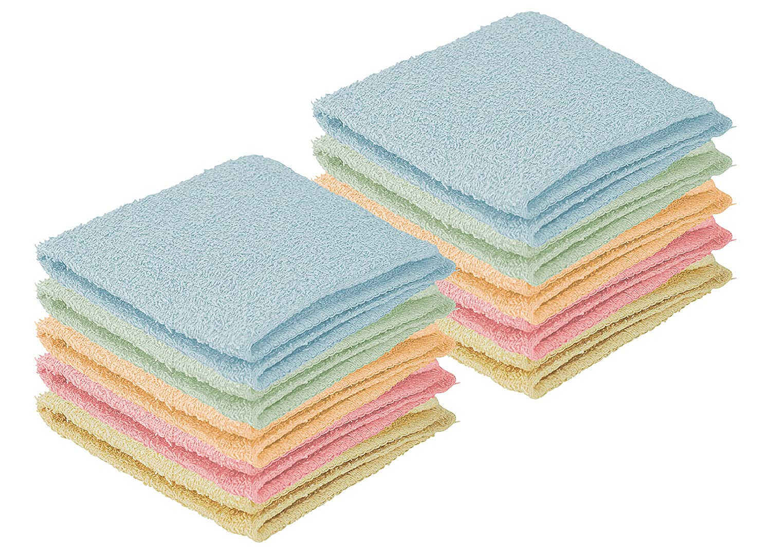 DecorRack 10 Pack 100% Cotton Wash Cloth, Luxurious Soft, 12 x 12 inch Ultra Absorbent, Machine Washable Washcloths, Assorted Colors (10 Pack)