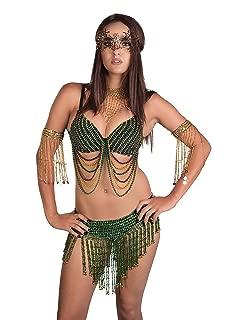 Sexy Mardi Gras Swag Bra Tribal Dance Purple Gold Green Beaded Exotic Rave Burning Man