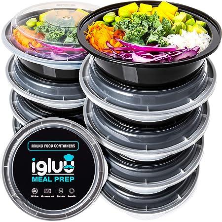 Igluu Meal Prep - [Lot de 10 Boîtes Alimentaires Rondes pour préparation des Repas - Réutilisables, sans BPA - Compatibles Micro-Ondes, Lave-Vaisselle et congélateur