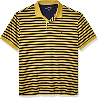 Men's Big and Tall Classic Fit Short Sleeve 100% Cotton Stripe Soft Polo Shirt