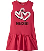 Moschino Kids - Sleeveless Heart Logo Graphic Dress (Big Kids)
