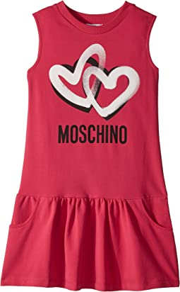 Moschino Kids Sleeveless Heart Logo Graphic Dress (Big Kids)
