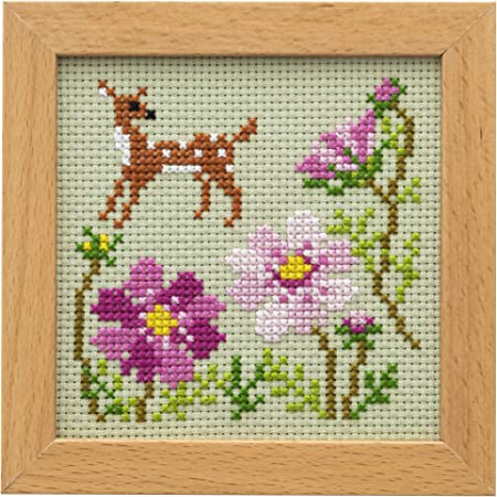 LECIEN (ルシアン) 刺しゅうキット かわいいどうぶつと季節のお花 フレーム付きクロスステッチキット バンビとコスモス, 869