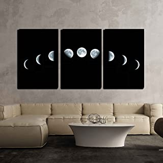 wall26 - 3 Piece Canvas Wall Art - Nine Phases of The Full Growth Cycle of The Moon Isolated on Black Background - Modern Home Decor Stretched and Framed Ready to Hang - 16