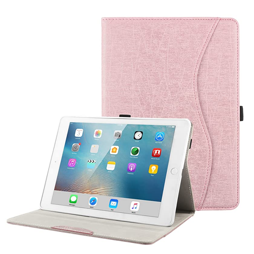 iPad Case for New iPad 9.7 2018 2017/iPad Air 2/iPad Air/iPad Pro 9.7 - BORIYUAN Protective Slim Case Folio Smart Cover with Auto Wake/Sleep Function & Pencil Holder for iPad 9.7 inch - Rose Gold