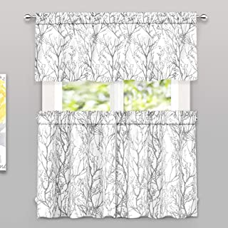 DriftAway Tree Branch Botanical Pattern Semi Sheer 3 Pieces Kitchen Window Curtain Set with 2 Tiers and 1 Valance Bathroom Café Curtain Rod Pocket Window Treatment Gray White