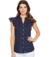 U.S. POLO ASSN. - Floral Pattern Pleated Poplin Blouse