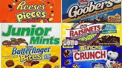 Movie Theater Candy Bundle (Pack of 6) includes 1-Box of Nestle Crunch Buncha, 3.2 oz + Butterfinger Bites, 3.5 oz + Junior Mints, 4 oz + Goobers, 3.5 oz + Reese's Pieces, 4 oz + Raisinets, 3.5 oz
