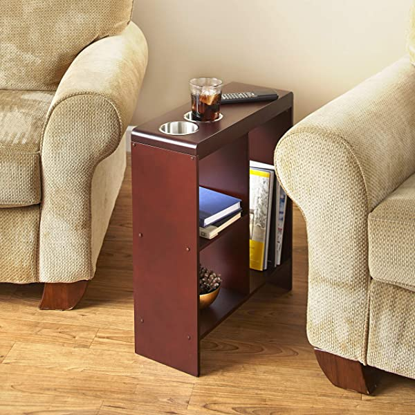 Slim End Table With Drink Holders And Built In Shelving Walnut Finish