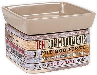Ten Commandments Pallet Wood Lookセラミックストーン2イン1?Jar Candle andワックスTart Oil Warmer