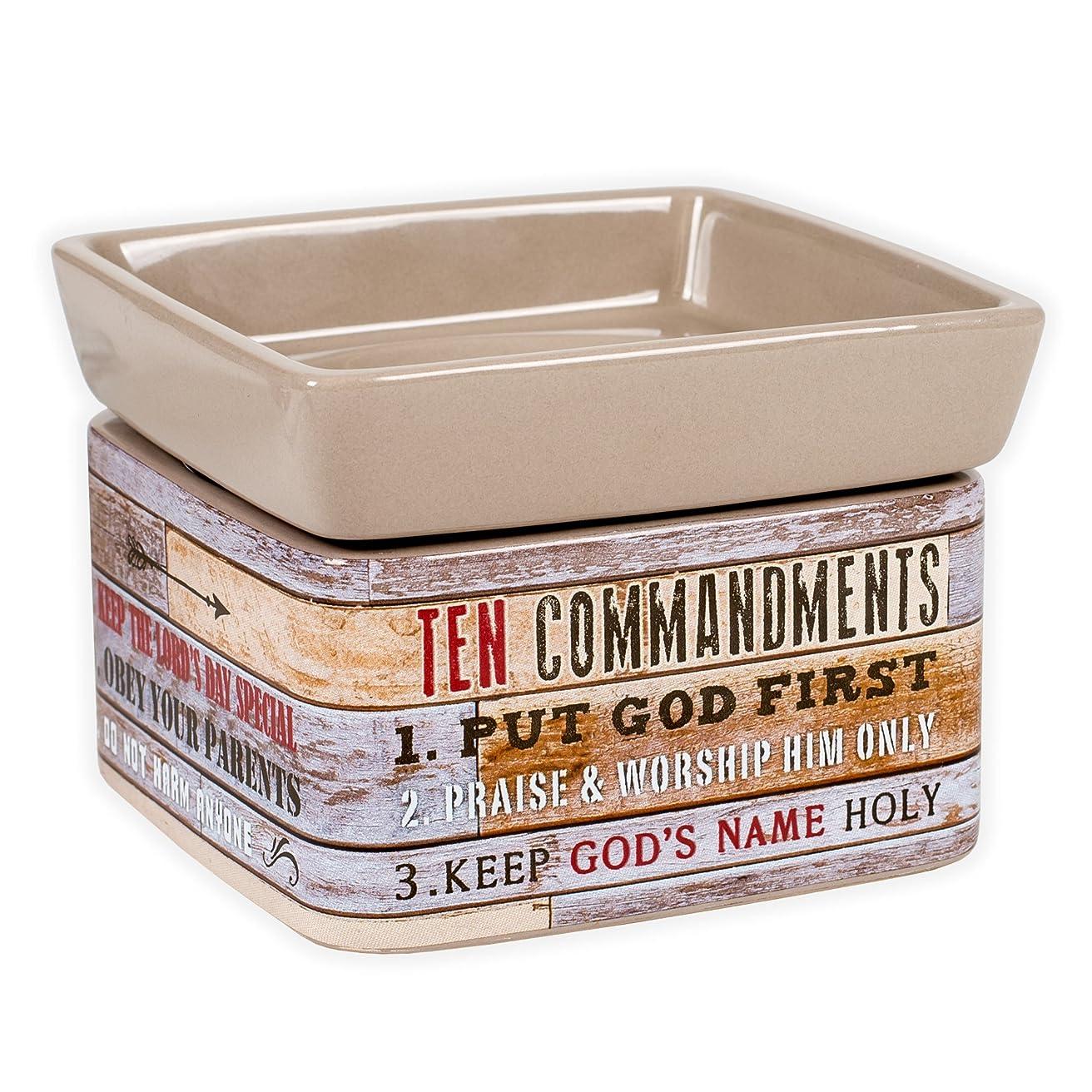 ささやきモスクうなるTen Commandments Pallet Wood Lookセラミックストーン2イン1?Jar Candle andワックスTart Oil Warmer